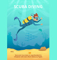 underwater background picture with cartoon diver vector image