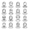 user icons set on white background line style vector image vector image
