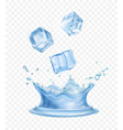 water crown splash and realistic ice cubes vector image vector image