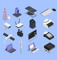 wireless technologies isometric icon set vector image