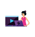 young woman using laptop and media player template vector image vector image