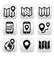 Map travel buttons set vector image