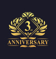3 years anniversary logo luxury floral golden 3rd