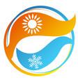 air conditioning symbol sun and snowflake circle vector image vector image