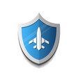 air flight company logo plane on shield icon vector image vector image