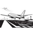 aircraft touchdown on runway at airport vector image vector image