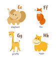 animal alphabet with elephant fox giraffe hippo vector image