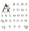 beautiful black serif floral alphabet for logo vector image