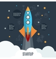 Business startup rocket launch flat poster vector image