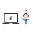 businessman character confused with laptop vector image