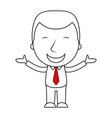 businessman line cartoon face happy expression vector image vector image