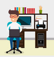 businessman working in the office vector image