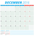 Calendar 2016 flat design template December Week vector image vector image
