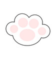 cat paw print leg foot icon with pink pads cute vector image vector image