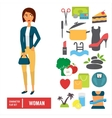 Character set woman Casual cloth with icons vector image vector image