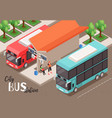 city bus station composition vector image vector image