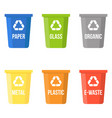 colorful recycle bin flat design vector image