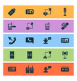 communication icons set with smart watch mobile vector image