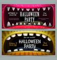 creepy halloween party banners scary jaws vector image vector image