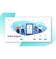 customer support internet service landing page vector image vector image