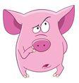 cute cartoon pink pig vector image vector image