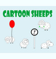 cute cartoon sheep set vector image