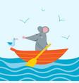 cute rat in orange boat vector image