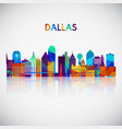 dallas skyline silhouette in colorful geometric vector image vector image