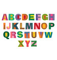 decorative colorful winter alphabet vector image vector image