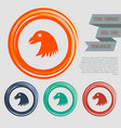 eagle icon on the red blue green orange buttons vector image