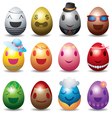 Easter Eggs with Smile Emotion Face Set vector image vector image