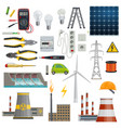 electricity energy and power industry icons vector image