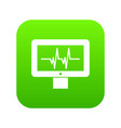 electrocardiogram monitor icon digital green vector image