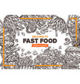 fast food monochrome background vector image vector image