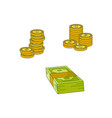 flat cash money pile stack gold coin set vector image vector image