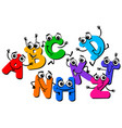 funny letter characters cartoon vector image vector image
