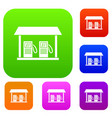 gas station set collection vector image vector image