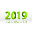 green 2019 symbol happy new year isolated on vector image