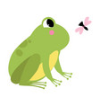 green frog with protruding eyes watching fly vector image