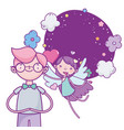happy valentines day cute boy and flying cupid vector image