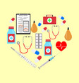 heart form with medicine icons vector image vector image