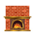 home fireplace with fire vintage design of vector image