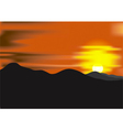 Landscape with sunset at mountain range vector image vector image