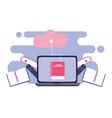 online training laptop cloud computing storage vector image