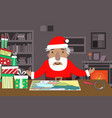 santa work space with map and magnifying glass vector image