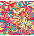 Seamless hand-drawn pattern floral background vector image