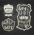 Set of chalk love badges on blackboard background vector image