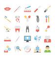 set of flat dental icons set vector image
