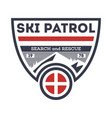 ski patrol search and rescue vintage label vector image