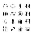 social distancing silhouette style icon set vector image vector image